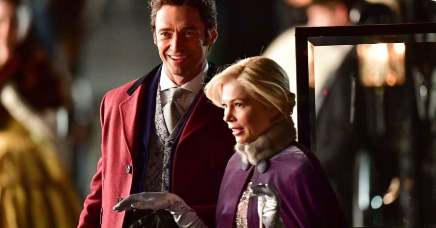 Hugh Jackman and Michelle Williams in a scene from The Greatest Showman