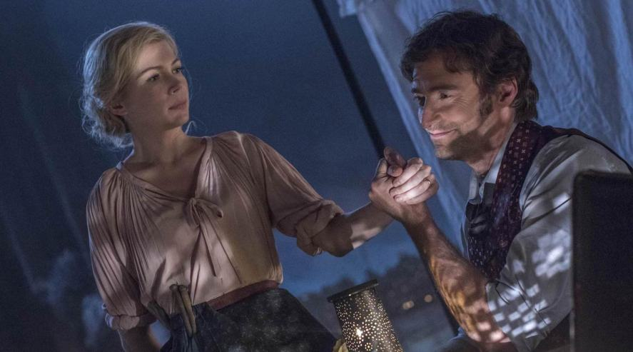 Michelle Williams and Hugh Jackman in a scene from The Greatest Showman