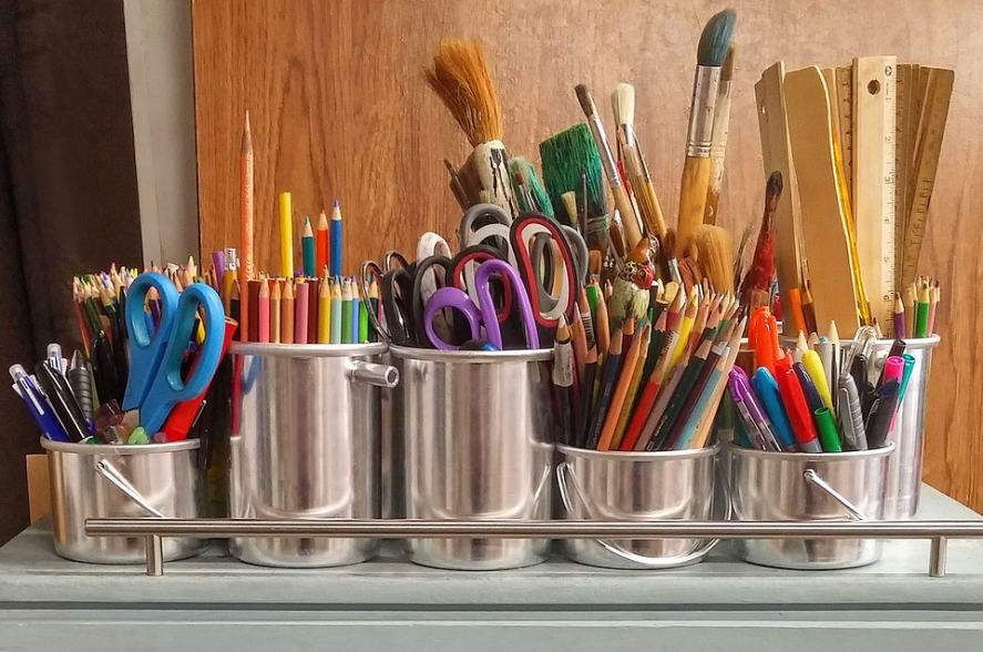 A selection of artist's supplies