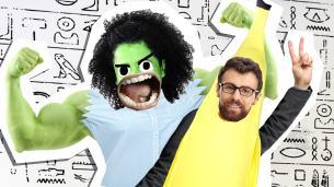 hulk and a teacher dressed a s banana
