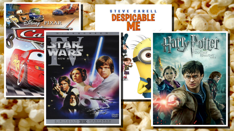 Cars Star Wars Despicable Me and Harry Potter DVD covers