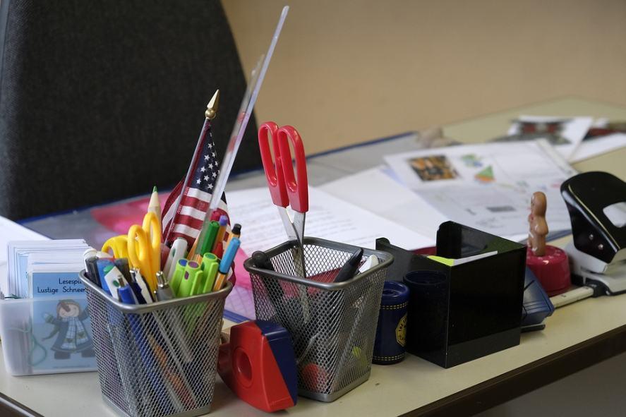A tidy teacher's desk