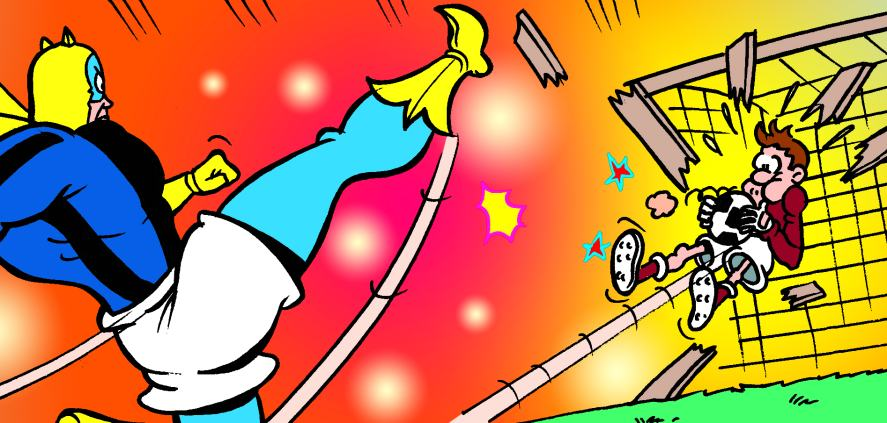 Which footie fanatic guest stars in Bananaman's strip this week?