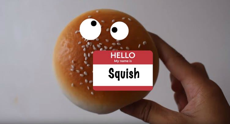A burger bun squishy toy with a name tag which says 'Squish'