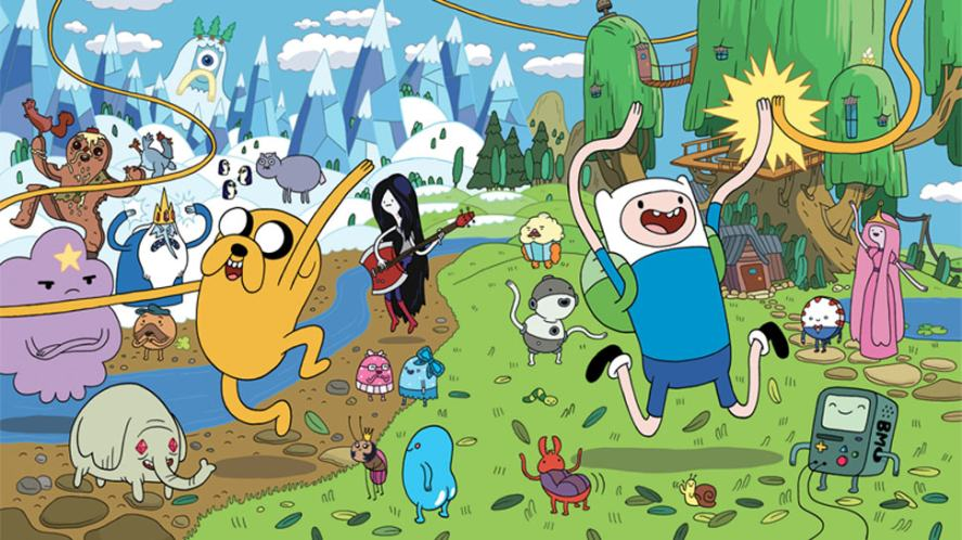 The Adventure Time cast in a woodland scene