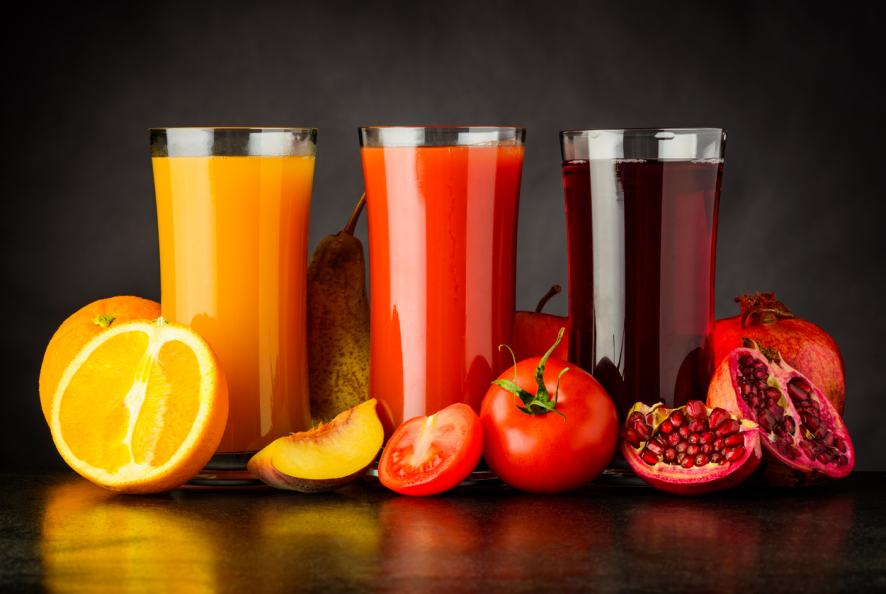 A selection of fruit juices