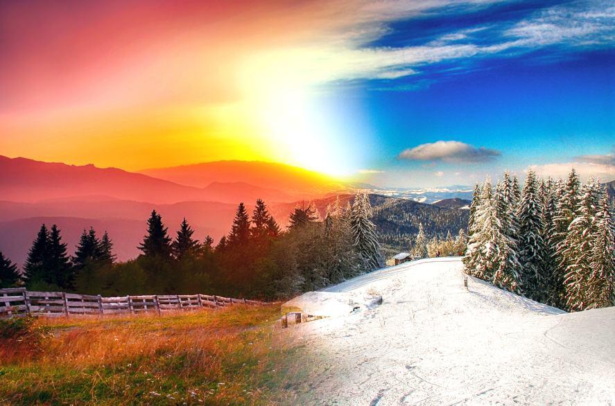 A landscape shown in four seasons