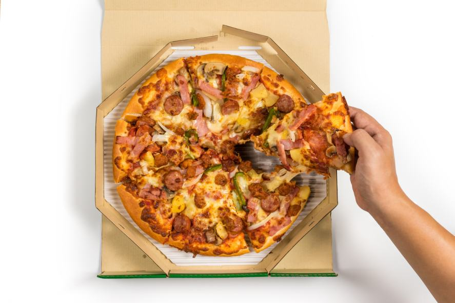 A delicious takeaway pizza