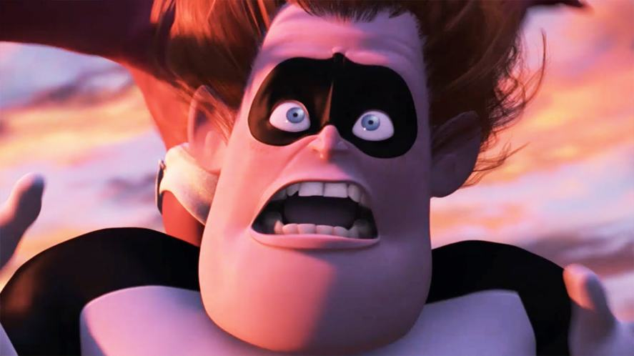 This is a picture of Syndrome looking scared at the end of the Incredibles film