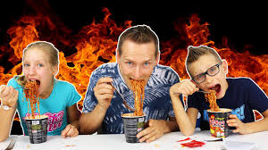 Sis Vs Bro vs Dad – the spicy noodle challenge