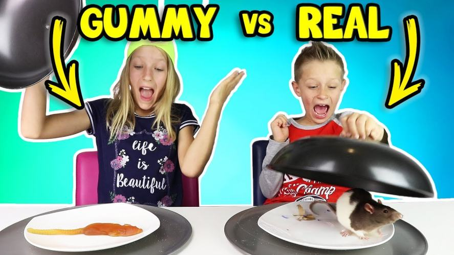 Sis vs Bro take on the Gummy vs Real challenge