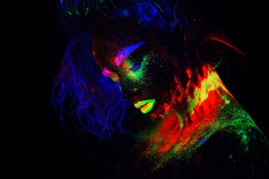 Someone wearing glow in the dark paint
