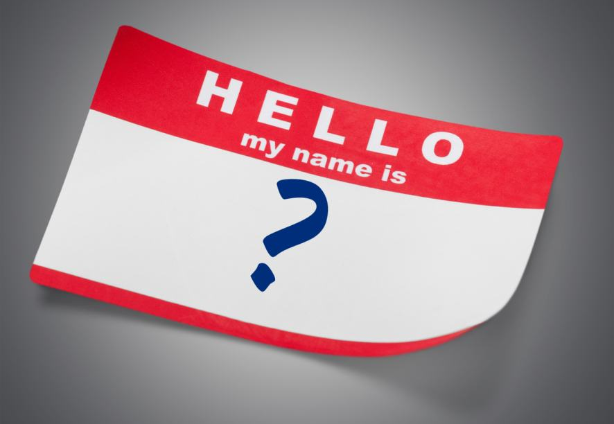 A sticky name tag