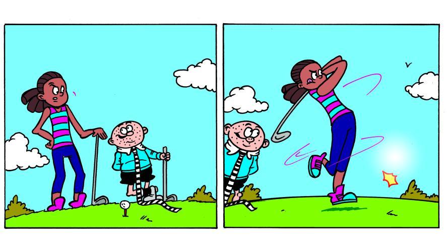 JJ playing golf