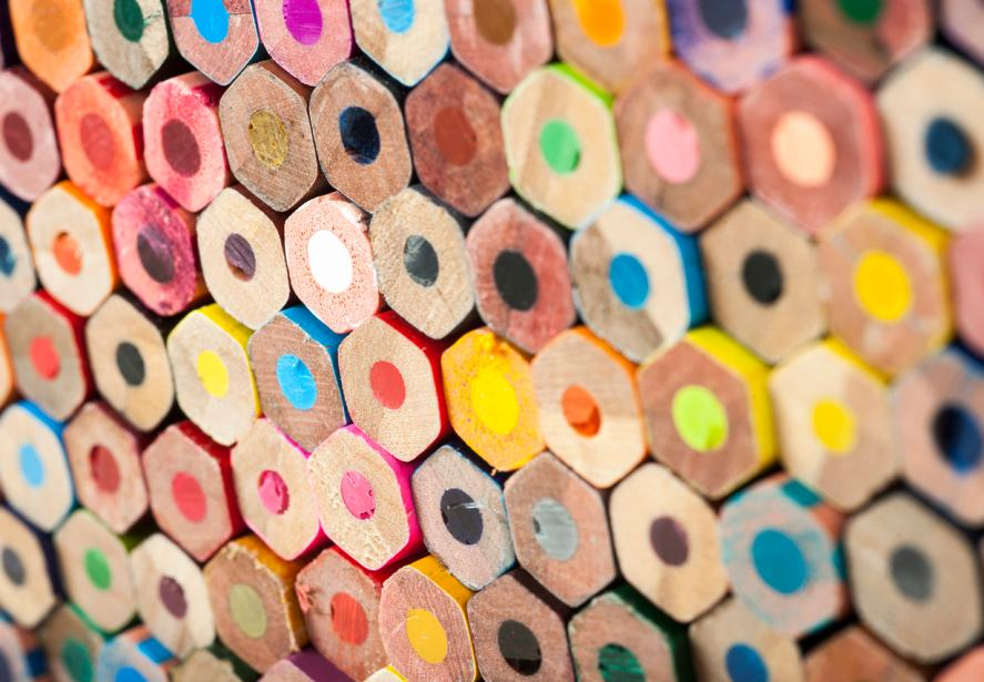 A wall full of coloured pencils