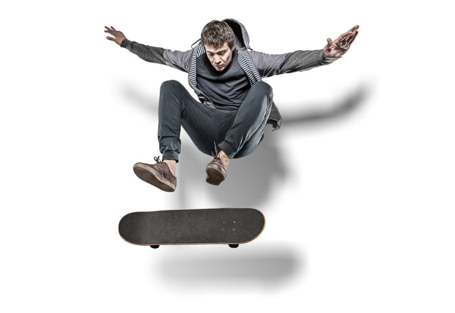 A skateboarder pulling off a sweet trick