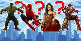 Superhero quiz featuring Wonder Woman, Iron Man, Spider-Manand Hulk