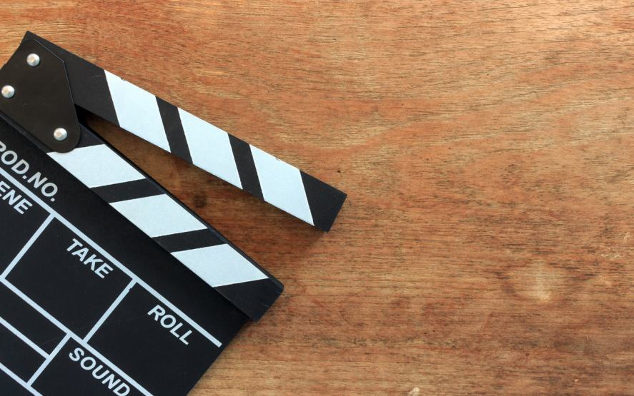 A clapperboard used in film making