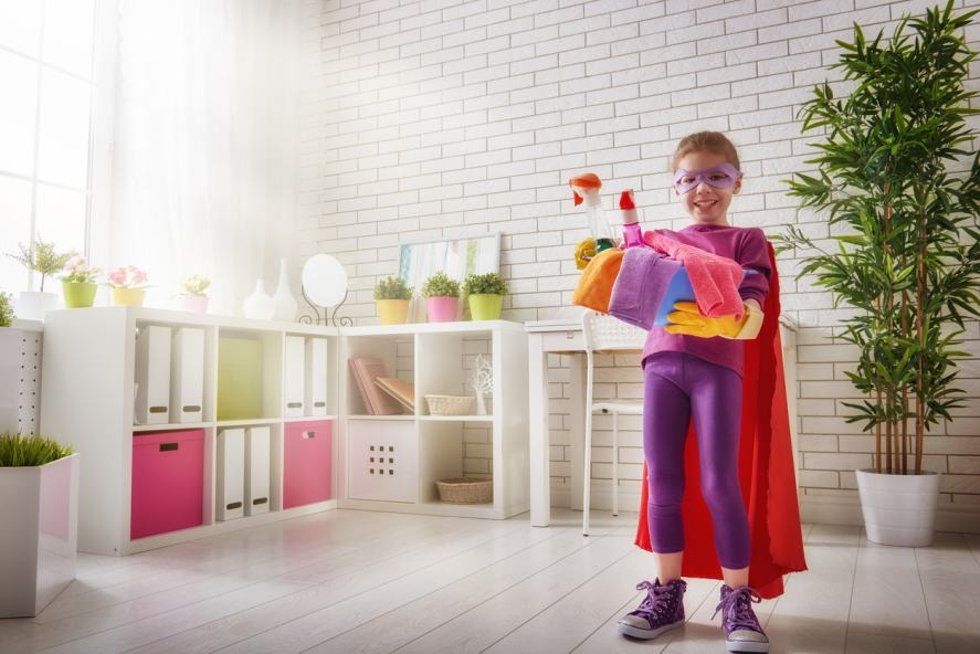 A superhero on a house cleaning mission