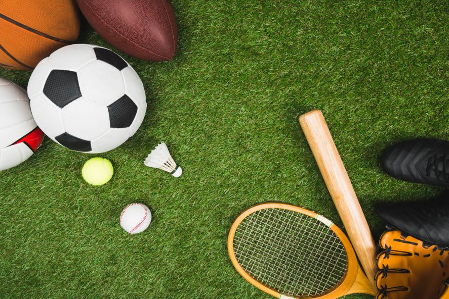 A selection of sports equipment