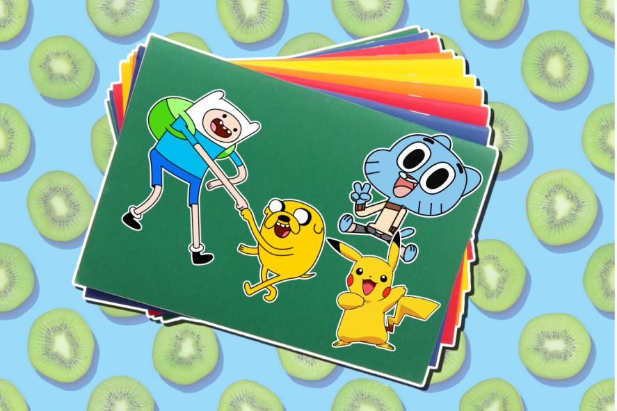 Cartoon stickets featuring Adventure Time, Pokemon and Gumballs