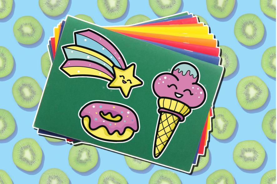 A star, donut and ice cream sticker