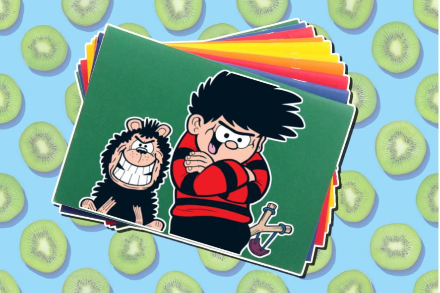Dennis and Gnasher sticker on an exercise book