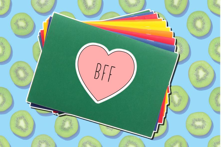 BFF sticker on a school book