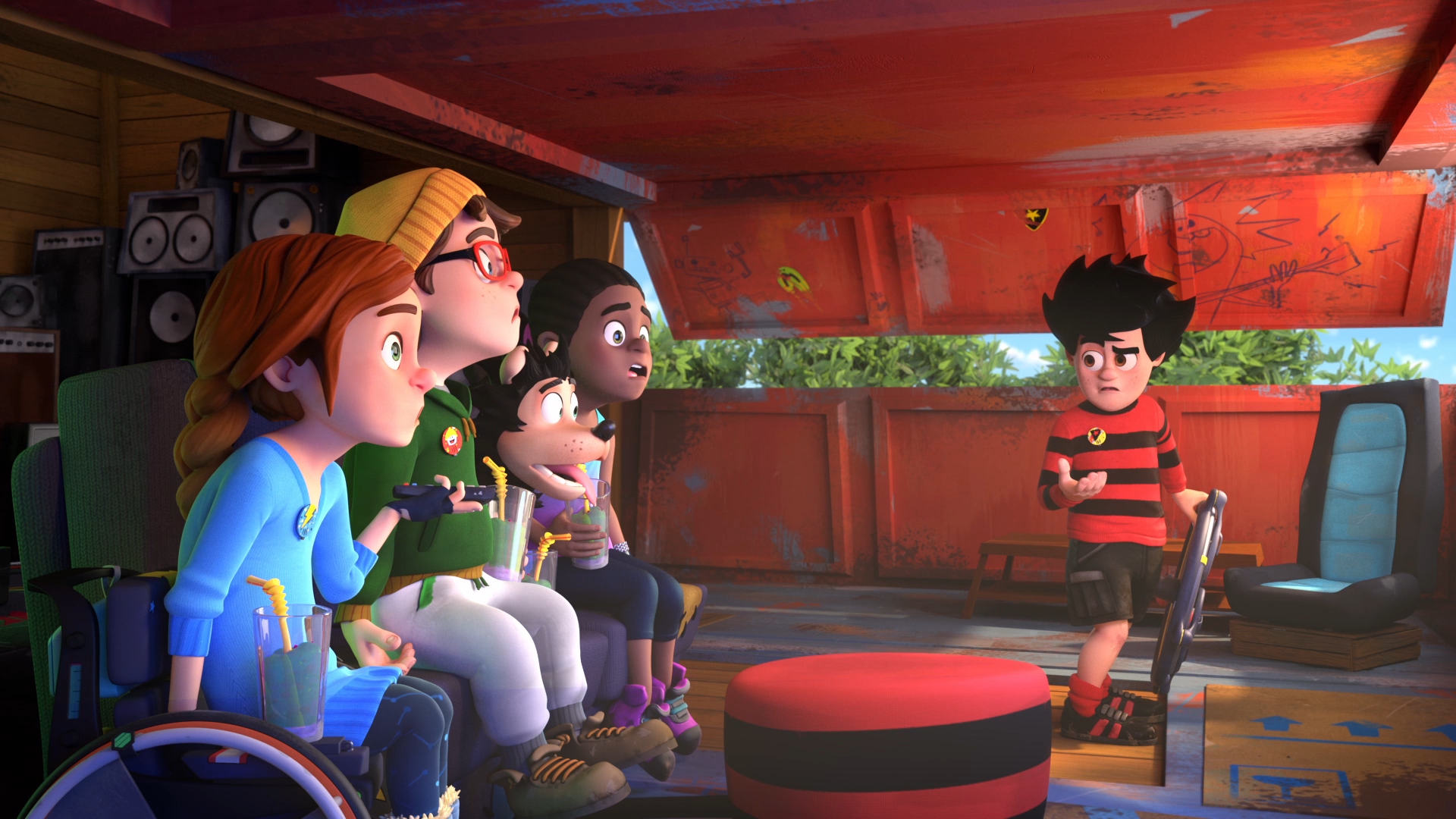Dennis and the gang in their den - from Dennis & Gnasher Unleashed!
