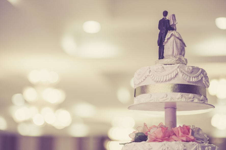 Vintage style photograph of a traditional wedding cake