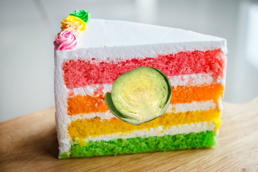 A delicious slice of rainbow cake filled with Brussels sprouts