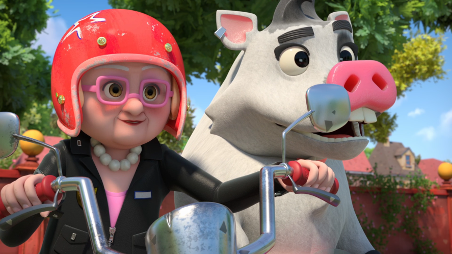 Dennis & Gnasher Unleashed! - Gran and Rasher on the motorbike
