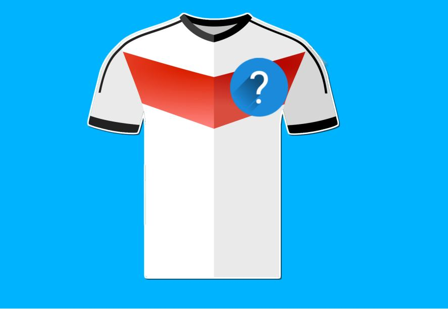A white, red and black football shirt