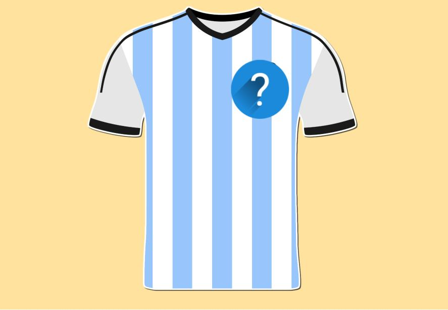 A light blue and white striped football shirt