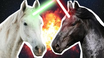 jedi unicorn and sith unicorn locked in battle for all eternity! War is bad guys - don't do it!