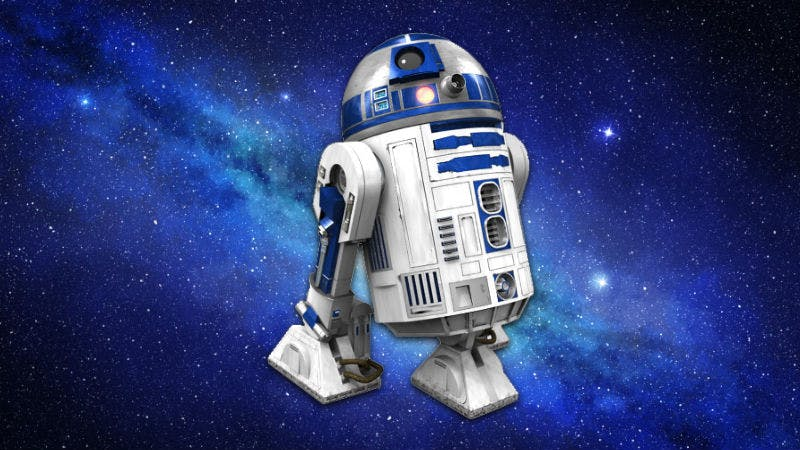 Star Wars character R2-D2 floating in space