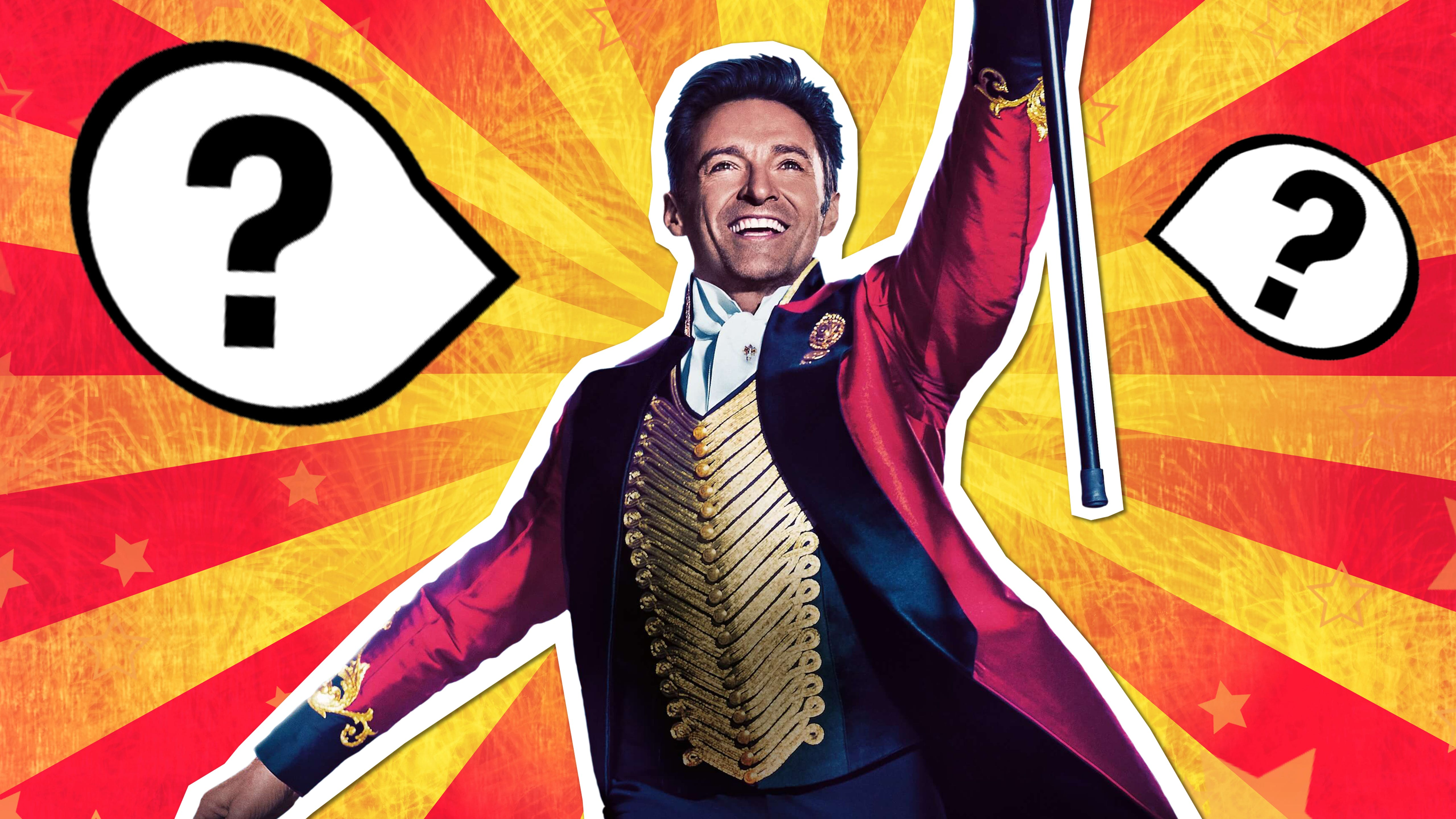 The Greatest Showman lyrics quiz - Hugh Jackman in costume with question marks in place of lyrics
