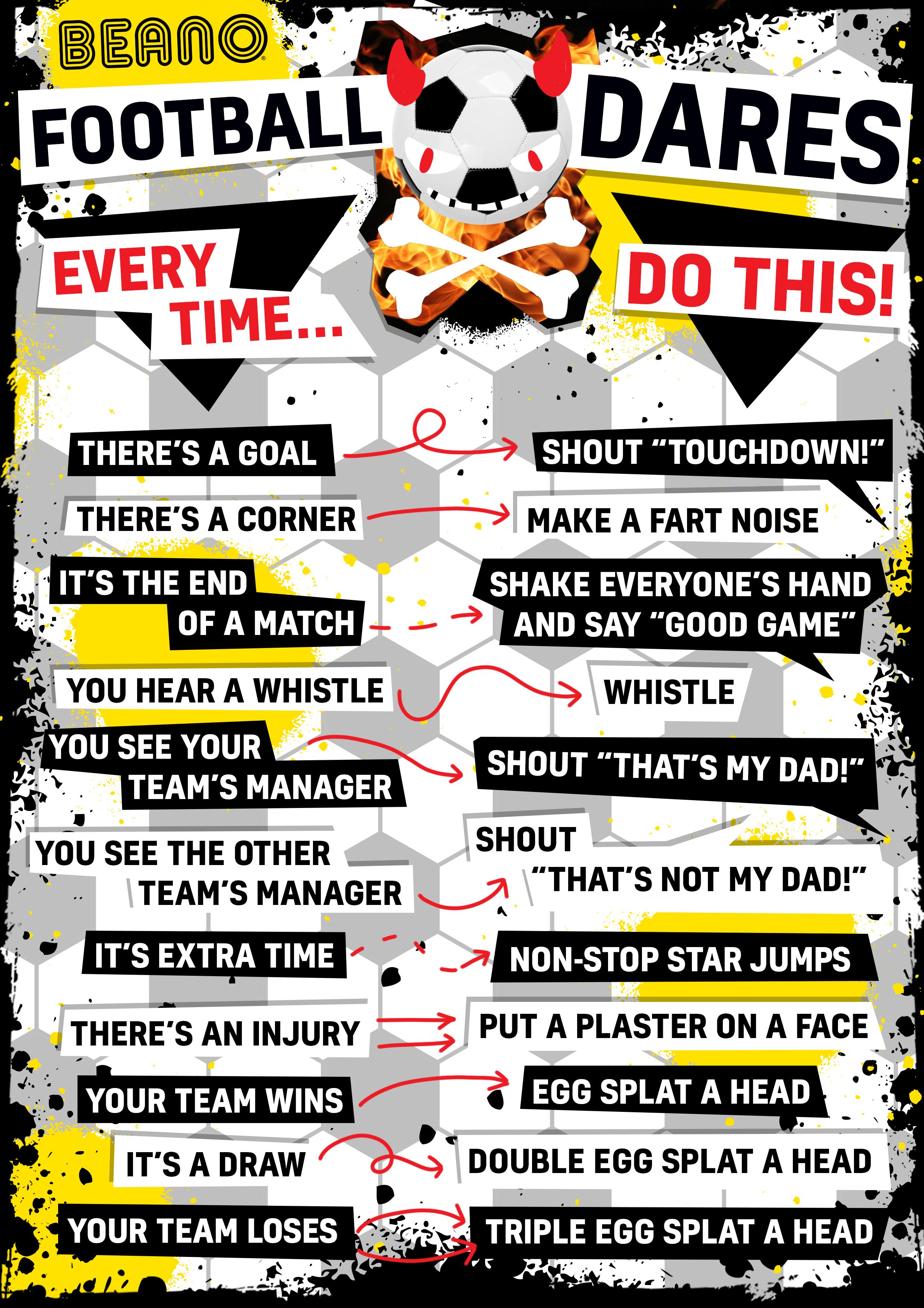 Football dares list