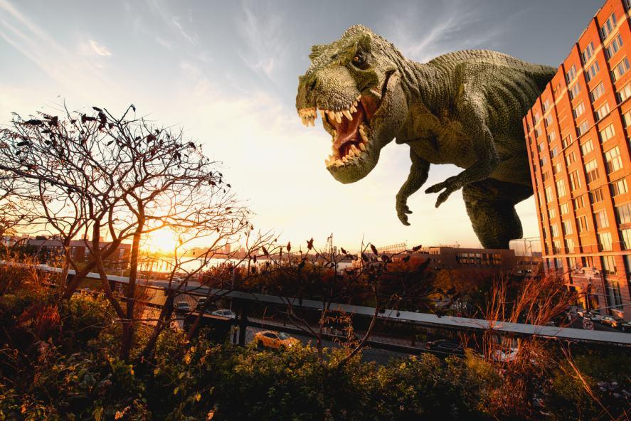 A Tyrannosaurus rex menacing the countryside