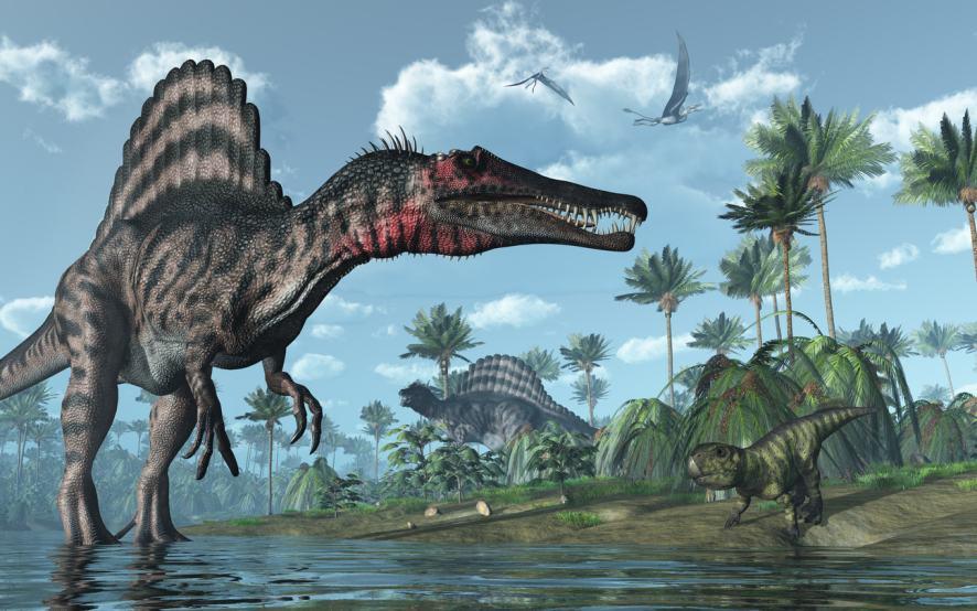 Prehistoric scene with Psittacosaurus Dinosaurs