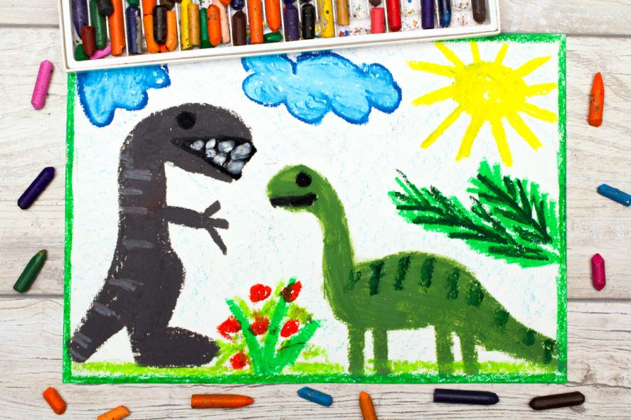 A colourful drawing of a diplodocus and tyrannosaurus rex
