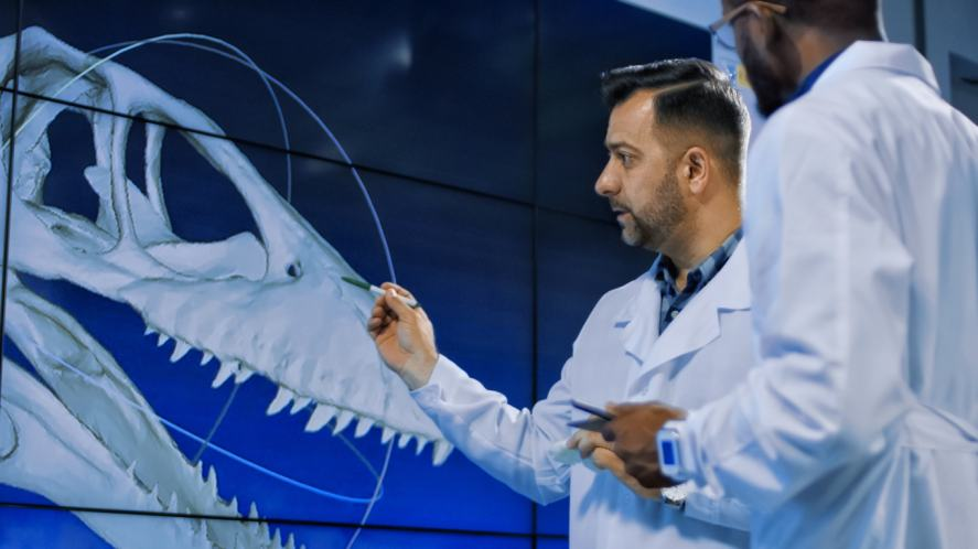 Scientists examine 3D printed model of a dinosaur