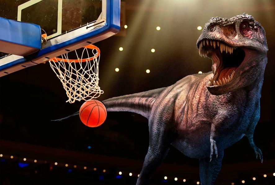 Which Toronto basketball team has a dinosaur claw on their club badge?