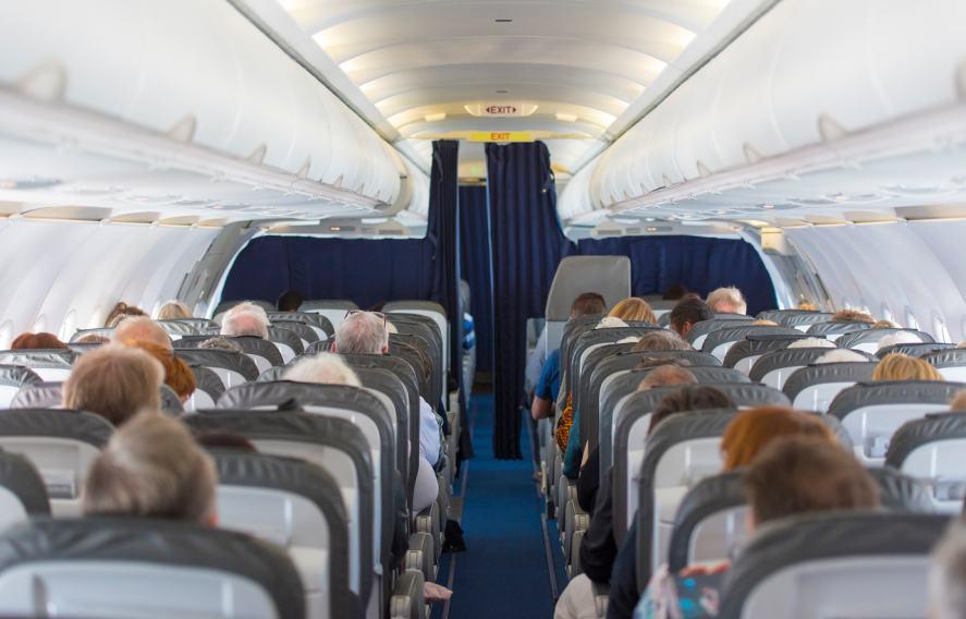 A commercial flight