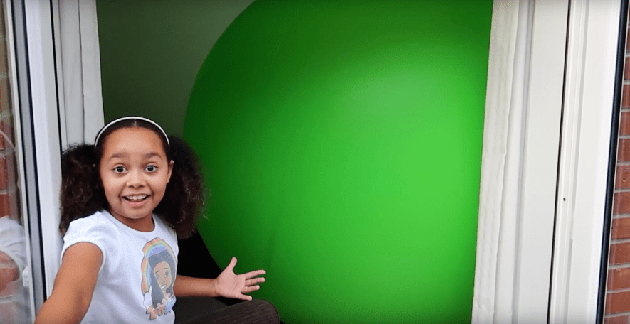 Tiana's living room has been taken over by a massive balloon