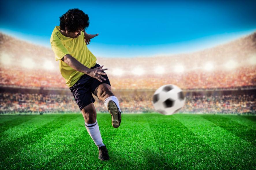 A striker takes a shot at goal
