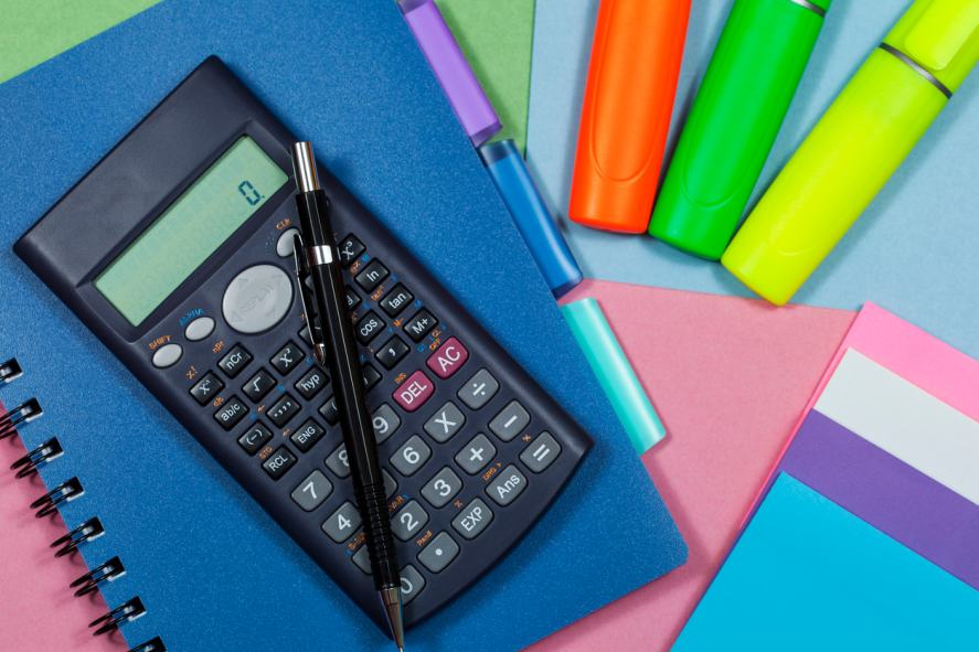 Calculator and highlighter pens with a note book