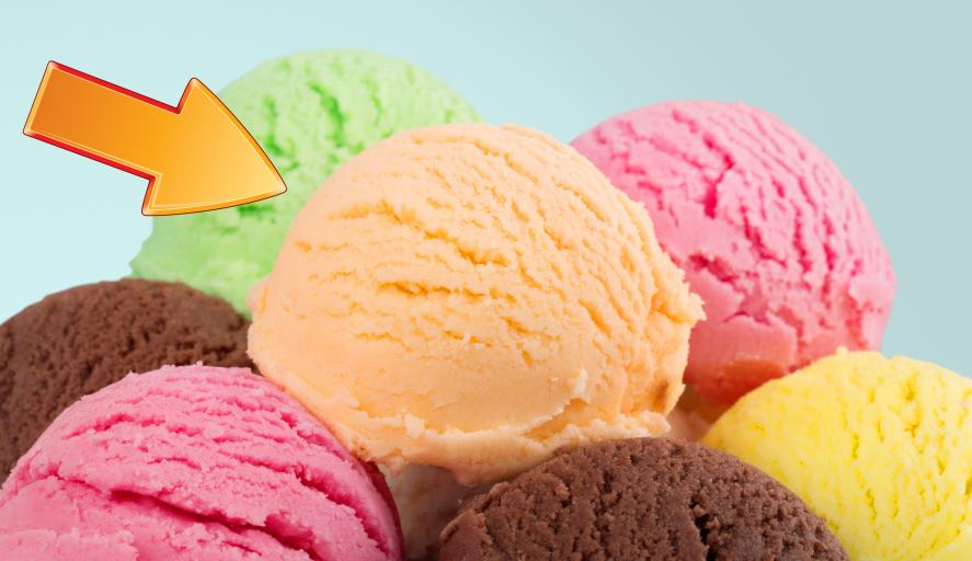 A orange ice cream