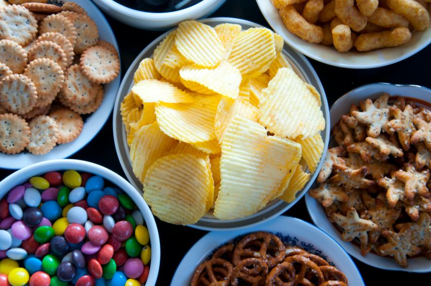 A selection of salty snacks