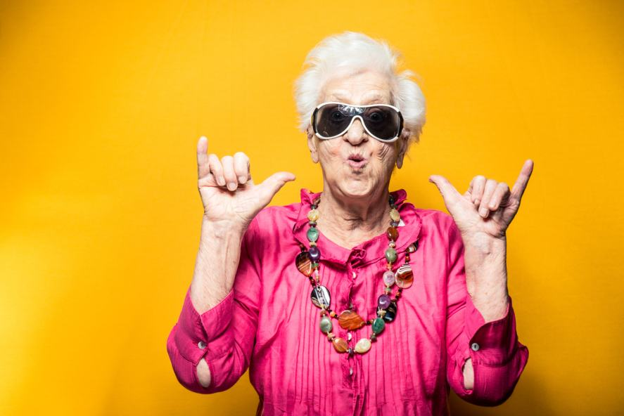 A cool elderly lady busts out some moves